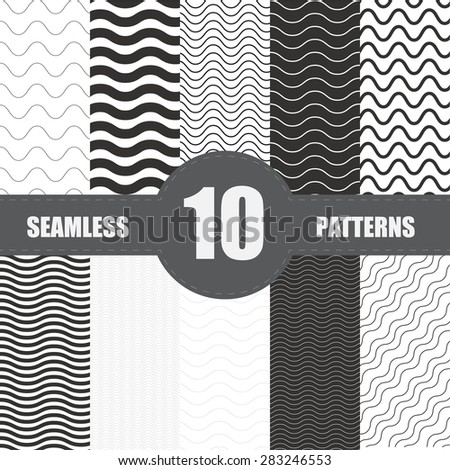 Set of  wave patterns with various density vector - stock vector