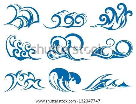 Set of wave symbols - stock vector