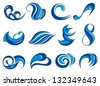 Set of wave symbols for design isolated on white - stock vector