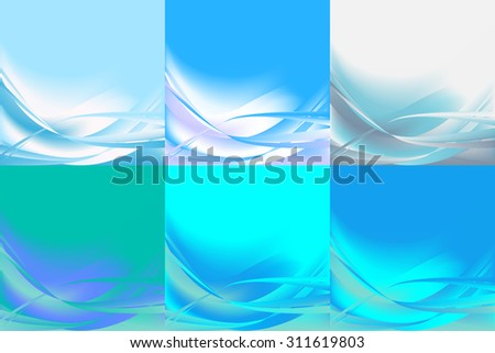 Set of wavy abstract backgrounds banners horizontal of different colors blue light - stock vector