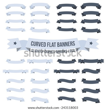 Set of wavy, curved banners or ribbons of different configurations for logos. - stock vector