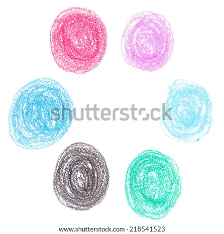 Set of wax crayon circle spots, isolated on white background - stock vector