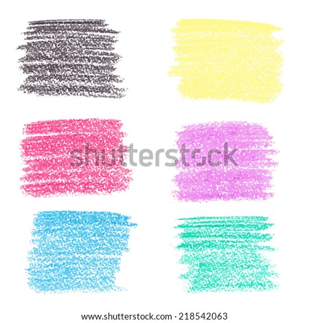 Set of wax crayon spots, isolated on white background - stock vector