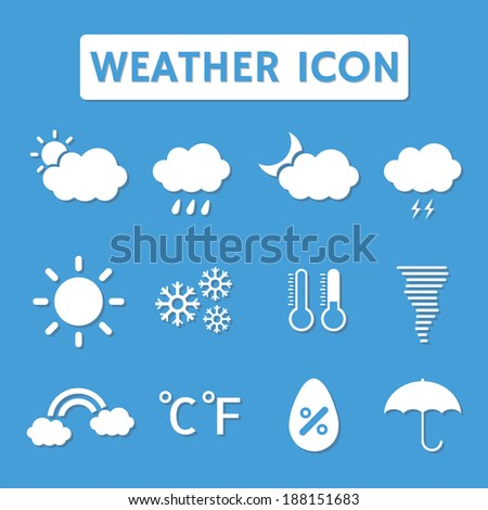 set of  weather icon with shadow, flat style - stock vector