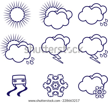 Set of weather icons - stock vector