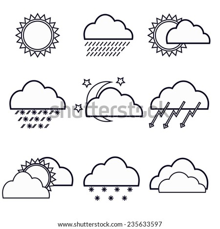 Set of weather icons on a white background - stock vector