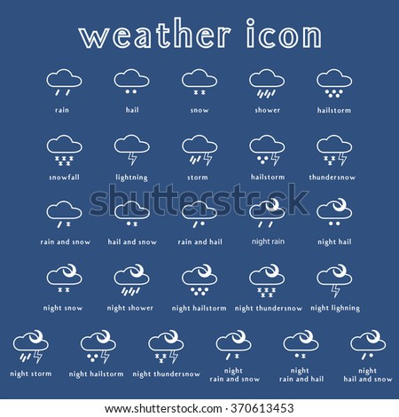 Set of weather icons. Part 3. Vector illustration. - stock vector