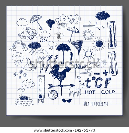 Set of weather symbols sketch. Vector illustration of weather icons.. - stock vector