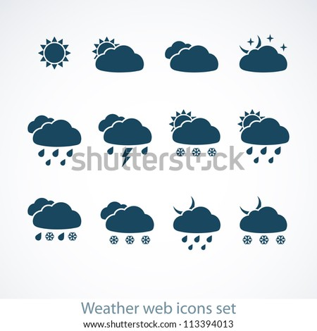Set of Weather web icons. Vector illustration. - stock vector