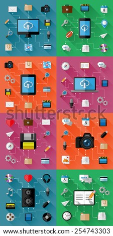 Set of Web and Business Concepts. Flat Design. Vector Illustration  - stock vector