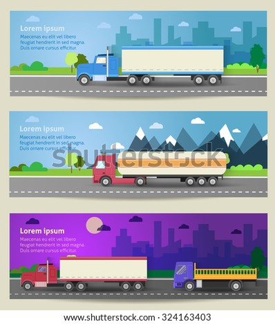 Set of web banners trucks. Color flat icons. Dump truck, tank, gasoline, truck, container, delivery, city, logistics. Vector illustration - stock vector