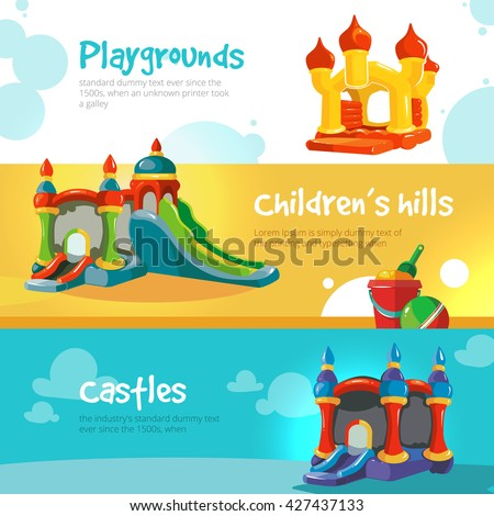 Set of web banners with pictures of inflatable castles. - stock vector