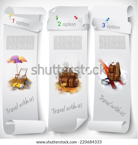 Set of web banners with tourists equipment. Isolated on light background. Vector clip-art - stock vector