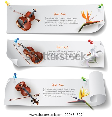 Set of web banners with violins and flowers. Isolated on light background. Vector clip-art - stock vector