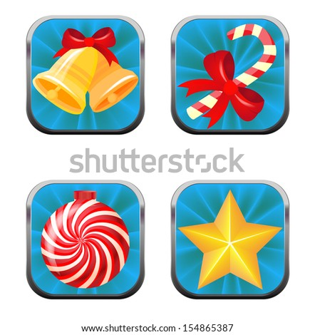 Set of web buttons for Christmas - stock vector