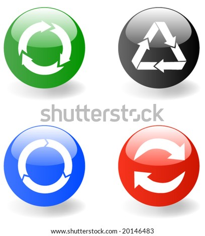 Set of web icon with recycling symbols - vector - stock vector