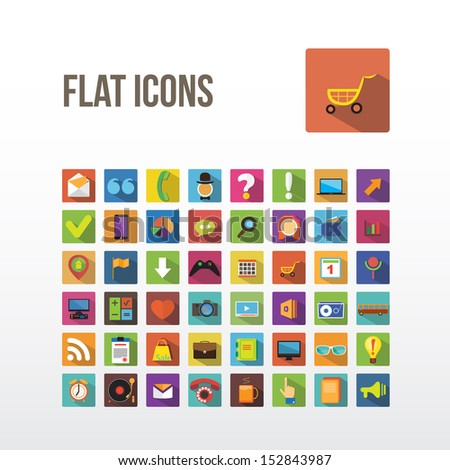 Set of web icons. Flat Design. - stock vector