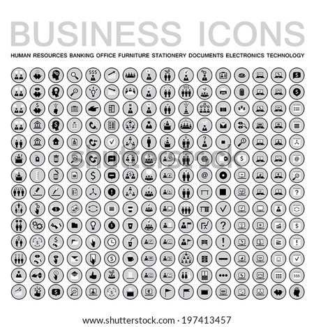 Set of 224 web icons for business, finance, office, communication, human resources. Neutral black,white,gray color. Vector illustration. - stock vector
