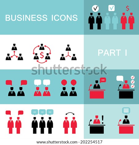 Set of web icons for business, finance, office, communication, human resources. Vector illustration. Part 1 - stock vector