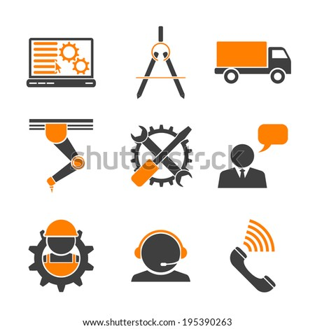 set of web icons for manufacturing and delivery theme, vector eps 10 illustration - stock vector
