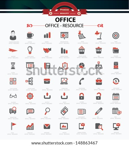 Set of web icons for office business and communication,vector - stock vector