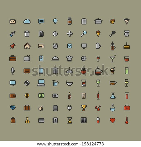 Set of web icons,Media and communication icon signs set, vector drinks medical office cooking set icons - stock vector