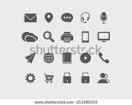 Set of web icons on grey background.  - stock vector