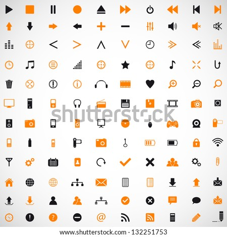 Set of web, internet, media, home appliances vector icons - stock vector