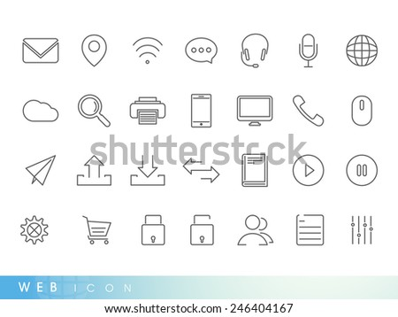 Set of web mail and networking icons on white background for your business. - stock vector