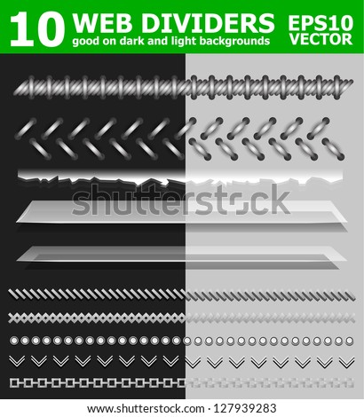 Set of 10 web page dividers - stock vector