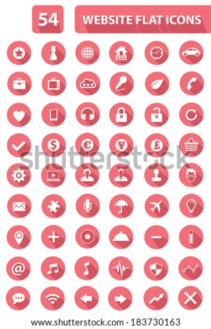 Set Of Website Flat Icons, Pink version, vector - stock vector
