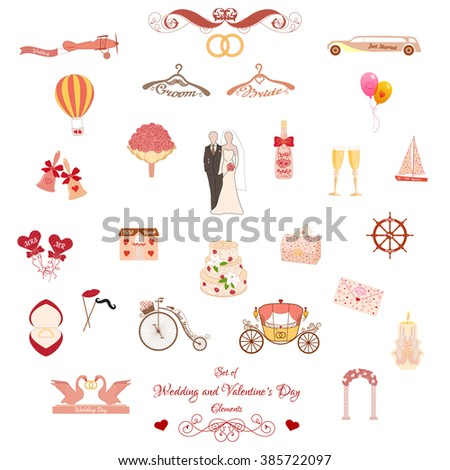 Set of Wedding and Valentines Day Classic and Retro Elements. Pastel pink elements for wedding designs, Valentines Day, web, logo, and other holiday romantic projects. - stock vector