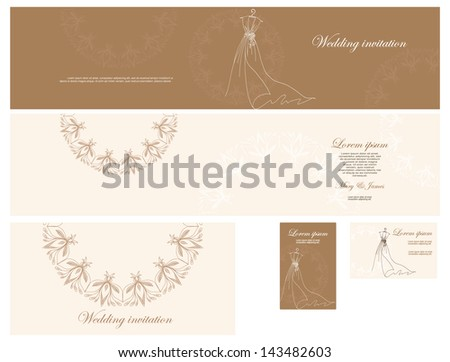 Set  of wedding invitation,  business cards, in gentle tones of gold, decorated with a pattern of wedding dresses and floral pattern - stock vector