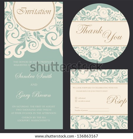 Set of wedding invitation cards. - stock vector
