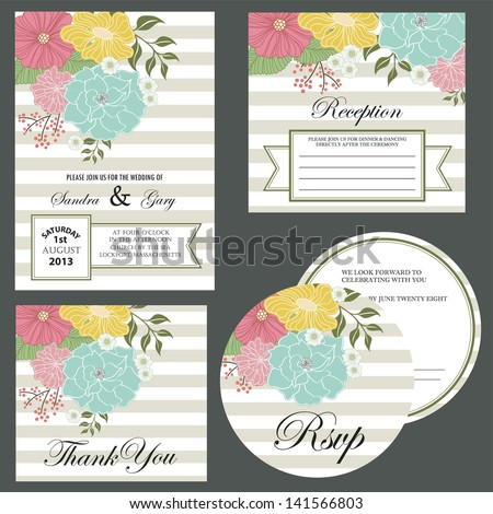Set of wedding invitation cards (invitation, thank you card, RSVP card, reception) - stock vector