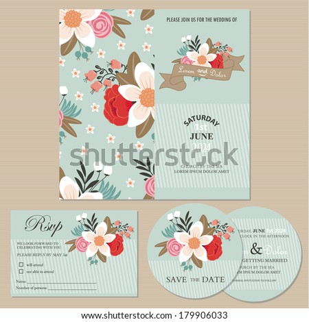 Set of wedding invitation cards or announcements with beautiful flowers (invitation, save the date card, RSVP card). - stock vector
