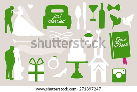 Set of wedding invitation vintage design elements. Bride and groom with some wedding different objects for designers. love in all times set of wedding invitations. silhouette people. - stock vector
