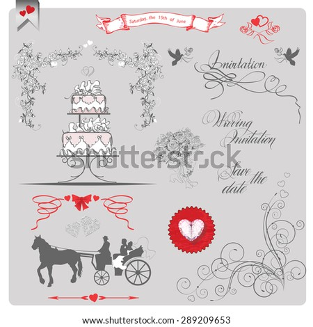 Set of wedding invitation vintage design elements. (Use for Wedding invitation card, Save The Date card,  Boarding Pass, invitations, thank you card.) Vector illustration. - stock vector