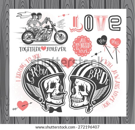 Set of wedding invitation vintage design elements.Vector Illustration with Skulls of Bride and Groom. - stock vector