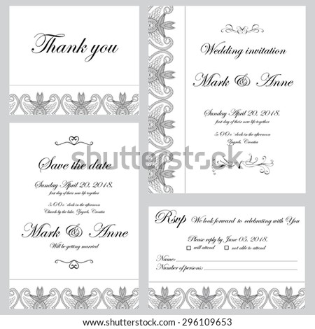 Set of wedding invitations and announcements  - stock vector