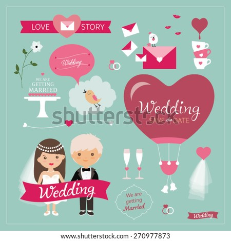 Set of wedding ornaments and decorative elements, vintage banner, ribbon, labels, frames, badge, stickers. Bride and groom Wedding Party vector illustration - stock vector