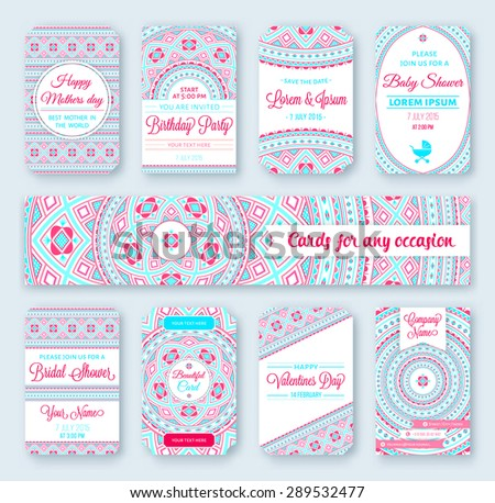 Set of wedding templates. Birthday cards. Tribal theme. Ideal for Save The Date. Baby shower. Valentines day. Mothers day. invitations.  - stock vector
