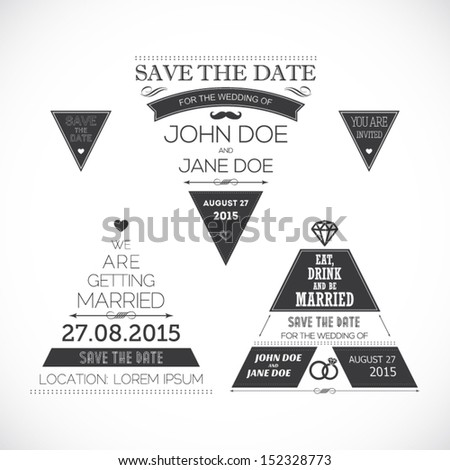 Set of wedding typography triangle - stock vector