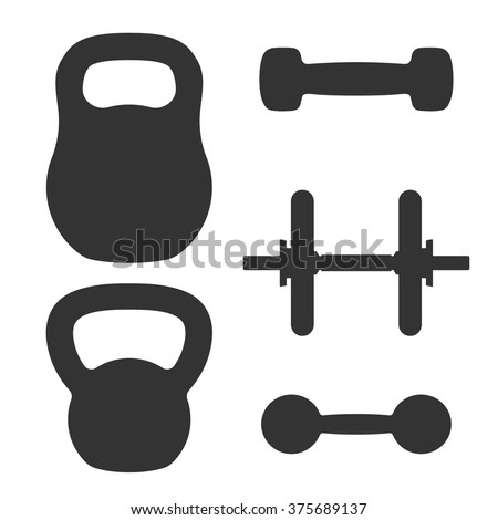 Set of weights. Dumbbells and kettlebells - stock vector