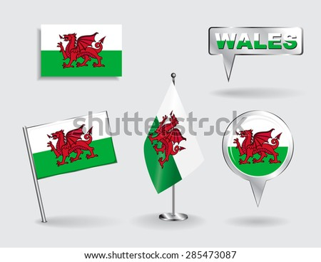 Set of Welsh pin, icon and map pointer flags. Vector illustration. - stock vector