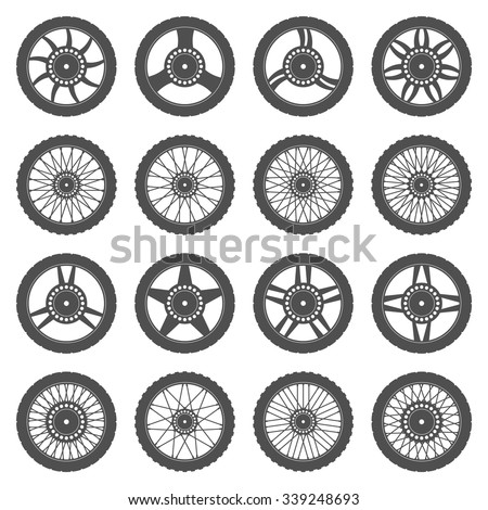Set of wheels for motorcycles - stock vector