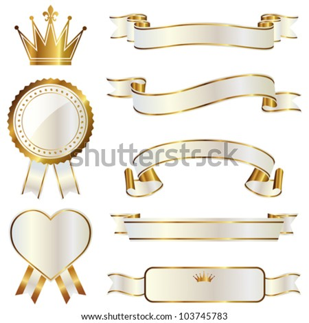 set of white and gold ribbon - stock vector