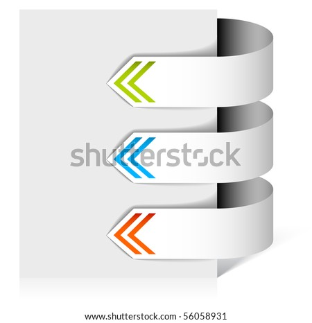 Set of white arrows pointing at the item - stock vector