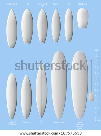 Set of white clean surfboards, EPS 10 contains transparency. - stock vector