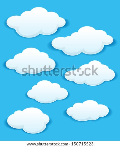 Set of white clouds in the blue sky for weather or another design.EPS 8 vector illustration. Bitmap (jpeg) version also available in gallery - stock vector